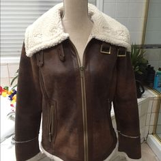 Michael Kors Light Brown Shetp Skin Jacket