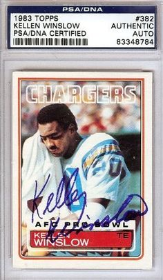 Kellen Winslow Autographed/Hand Signed 1983 Topps Card PSA/DNA #83348784 by Hall of Fame Memorabilia. $56.95. This is a 1983 Topps Card that has been hand signed by Kellen Winslow. It has been authenticated by PSA/DNA and comes encapsulated in their tamper-proof holder.
