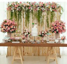 Bridal Shower Table Set Up Backdrops 45 Best Ideas Wedding Cake Table Decorations, Wedding Table, Rustic Wedding, Wedding Ideas, Wedding Cakes, Dessert Table Backdrop, Pallet Wedding, Garden Wedding, Dessert Wedding