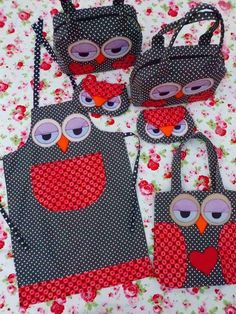owl apron-picture only on pattern Fabric Crafts, Sewing Crafts, Sewing Projects, Owl Patterns, Sewing Patterns, Owl Bags, Owl Crafts, Sewing Aprons, Kids Apron