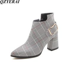 Plus Size 3346 Women Ankle Boots Chunky Heels Short Boots Pointed Toe High Heeles Botas Mujer Lattice Femme Bottines Sexy High Heels, Frauen In High Heels, Chunky High Heels, Womens High Heels, Pointed Toe Heels, Short Boots, Neue Trends, Fashion Boots, Ankle Boots