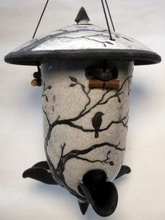 """ 2 Birds in a Tree ""— Raku Bird Feeder' by ringoffire pottery - Modern Design Ceramic Houses, Ceramic Birds, Ceramic Clay, Clay Birds, Bird House Feeder, Bird Feeders, Raku Pottery, Pottery Art, Pottery Painting"