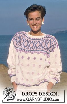 "DROPS 18-10 - DROPS jumper with pattern border in ""Muskat"". - Free pattern by DROPS Design"