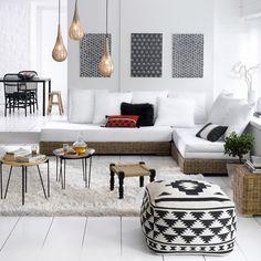 Sala em tons de preto & branco » Sofá-cama Giada e pufe Agag