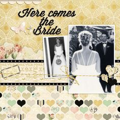 Wedding scrapbook layout - like the hearts in rows & the border of text. Note black spot strip to lift text layer away from background. Wedding Scrapbook Pages, Love Scrapbook, Album Scrapbook, Scrapbook Page Layouts, Scrapbook Paper Crafts, Scrapbook Sketches, Wedding Photo Albums, Wedding Album, Wedding Book