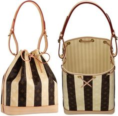Created in 1932 to carry champagne bottles, the chic Noé is truly a Louis Vuitton icon. It's crafted in the vintage-inspired Monogram Rayures canvas, with natural cowhide leather trimmings and handles. The bag features golden brass hardware, an adjustable shoulder strap with buckle, a D-ring for keys and accessories, and a lovely striped soft textile lining.