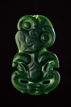 Finch & Co - A Large New Zealand Maori Finely Carved 'Pounamu' Greenstone Breast Pendant 'Hei-Tiki'