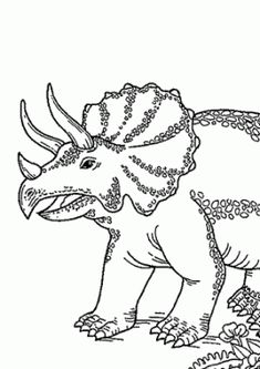 Triceratops Dinosaur Smiling Coloring Pages For Kids Printable Free