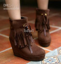 Wholesale The Newest arrival Roman buskin nubuck suede Slope lace up tassel wedge ankle boot EU35-39