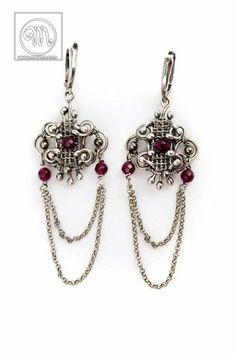 Selene - hand made, wire wrapped baroque, charming silver earings with red jades