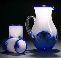 Wave Pitcher & Cups by Michael Richardson, Justin Tarducci, and Tim Underwood (Art Glass Pitcher and Drinkware) Glass Wall Lights, Glass Wall Art, Window Glass, Glass Jug, Glass Pitchers, Modern Pitchers, Glass Bottles, Carafe, Michael Richardson