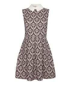 Another great find on #zulily! Pink & Black Damask Collared A-Line Dress by Iska London #zulilyfinds