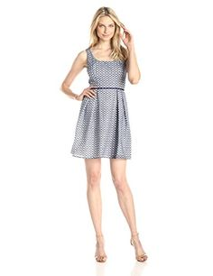 Shoshanna Women's Svetlana Diamond Organza Fit and Flare Dress, Navy/White, 12 * Read more  at the image link.