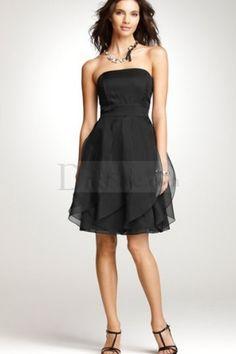 Little Black Organza Bridesmaid Dress with Ruffles, www.dressale.com