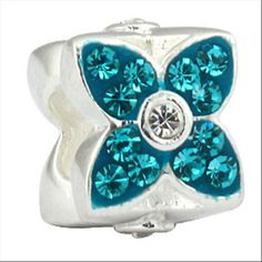 Four Leaf Clover With Blue Austrian Crystal Authentic Sterling Silver Solid Core Charms Floral