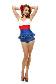 Somehow really cute!   Navy Ruffle Sailor Tankini Swimsuit - Unique Vintage.com - Cocktail, Evening, Pinup Dresses