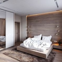 Here are 8 ways to maximize the space in a small bedroom. Modern Luxury Bedroom, Master Bedroom Interior, Room Design Bedroom, Modern Master Bedroom, Bedroom Furniture Design, Hotel Room Design, Modern Bedroom Design, Luxurious Bedrooms, Home Decor Bedroom