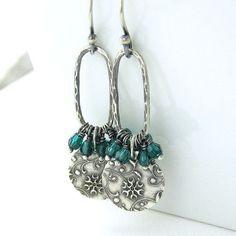 Emerald Earrings Sterling Silver Flower Jewelry Swarovski Crystal Earrings Handmade Jewelry Beth No. 40