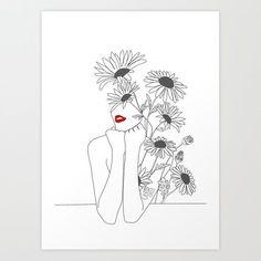 Minimal line art girl with sunflower art print by Minimal Line Art Girl with Sunflower Art Print by Art And Illustration, Sunflower Illustration, Sunflower Drawing, Sunflower Art, Art Sketches, Art Drawings, Tattoo Sketches, Tattoo Drawings, Kunst Tattoos