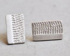 Rectangular sterling silver stud earrings. Handmade Jewelry, Unique Jewelry, Handmade Gifts, Sterling Silver Earrings Studs, Women's Earrings, Bronze, Crafts, Etsy, Vintage
