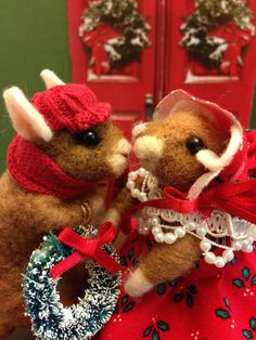 Mr. and Mrs. mouse needle felted mice by weewooleybeasties on Etsy