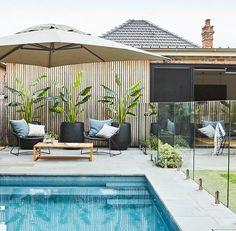 Swimming Pool Landscaping, Swimming Pool Designs, Modern Landscaping, Backyard Landscaping, Landscaping Ideas, Pool Gazebo, Outdoor Pool, Pool Fence, Backyard Pool Designs