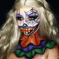 Candy the Halloween Clown | www.youtube.com/c/SydneyNicoleTheCatsMeow IG @voodoobarbiedoll | Clown makeup, Halloween makeup ideas, Halloween makeup, Halloween Costume, Spiderweb makeup, Candy corns, Spider, Spider web, Ruffles, SFX, SFX Makeup, 3D makeup