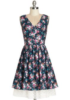Flutter and Flicker Dress - Multi, Floral, Backless, Lace, Casual, Sundress, A-line, Sleeveless, Summer, Woven, Good, V Neck, Mid-length