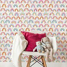 Over The Rainbow Wallpaper In 2019 Wallpaper Kids Bedroom World Wallpaper, Rainbow Wallpaper, Kids Wallpaper, Little Girl Wallpaper, Playroom Wallpaper, Big Girl Bedrooms, Little Girl Rooms, Kids Bedroom, Bedroom Decor