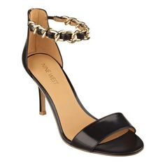51b2dd8593e3 Open toe sandals feature a gleaming ankle strap chain detail with Back-zip.  Closet