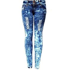 ELLA Juniors Acid Wash BLUE Denim JEANS Destroy Skinny Ripped... ($20) ❤ liked on Polyvore featuring jeans, pants, bottoms, hlače, distressed jeans, destroyed skinny jeans, super skinny jeans, torn skinny jeans and ripped jeans