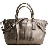 "Coach Leather Sophia Convertiable Shoulder Hobo Bag Purse Satchel 15960 Gunmetal - Coach Leather Sophia Convertiable Shoulder Hobo Bag Purse Satchel 15960 Gunmetal    Measures approx. 14""L x 4.5""W x 10""HDouble rolled leather handles with approx. 5"" d"