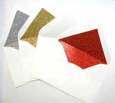Glitter Envelopes // Red, Gold, Silver, White Glitter Liners // 5x7 // 10 pack on Etsy, $25.00