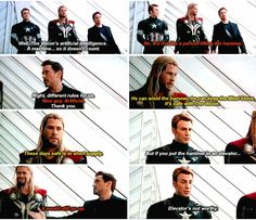 Thor is so amused by Steve and Tony