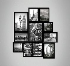 Composition of Frames Cities in Black and White - 10 iposters - Top Frames Gallery Wall, Black And White, City, Frames, Top, Home Decor, Wall Behind Sofa, Wall Of Frames, Log Projects