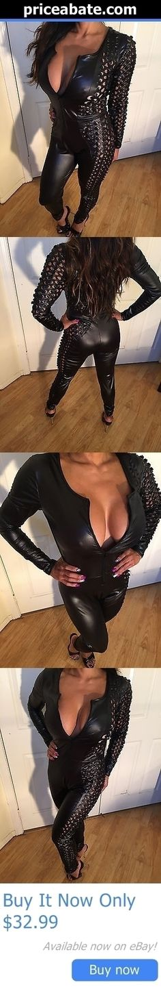 Jumpsuits And Rompers: Black Stretch Faux Wet Leather Jumpsuit W/ Front Zipper And Open Hole Design S/M BUY IT NOW ONLY: $32.99 #priceabateJumpsuitsAndRompers OR #priceabate