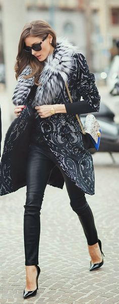 #partywear #streetstyle   Olivia Palermo in a brocade print coat & leather pants styled with black pumps & a tricolor shoulder bag