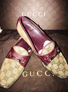 9e0b841e8f3 Gucci womens horsebit GG canvas loafers European size 37.5 US size 7.5   fashion  clothing