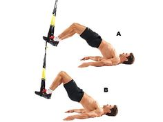 Ham curlOn your back, put your feet in the stirrups, with legs slightly bent (A). Pull your feet towards you, keeping your hips as high as possible (B). That pain in your hamstrings and core is solid muscle under construction.