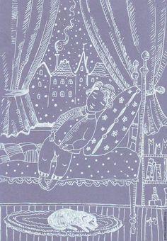 Купить или заказать Спокойная ночь в интернет-магазине на Ярмарке Мастеров. Про тихую и нежную ночь. Графика на тонированной бумаге. Продается без оформления.