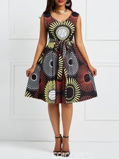 african dress styles Ericdress Floral V-Neck Pullover Sleeveless A-Line Dress 13318345 - African Dresses For Kids, African Prom Dresses, African Fashion Designers, Latest African Fashion Dresses, African Fashion Ankara, African Print Fashion, African Men, Africa Fashion, African Prints
