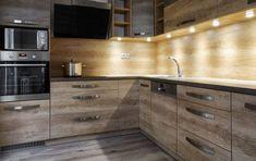 Trendi modern konyhabútor led világítással, fényekkel