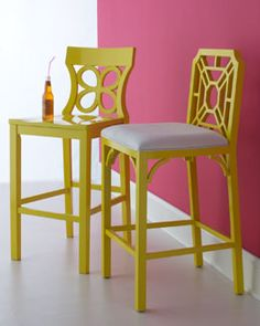 Neiman Marcus -3CK4 Lilly Pulitzer Home Yellow Barstools