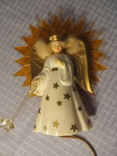 VINTAGE LIGHTED ANGEL CHRISTMAS TREE TOPPER RETRO MID CENTURY EAMES ORNAMENT