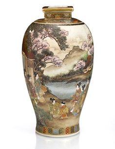 A Satsuma vase By Okada Ryozan, Meiji period (late century). Japanese Vase, Japanese Porcelain, Japanese Ceramics, Japanese Pottery, Glazes For Pottery, Pottery Art, Satsuma Vase, Faberge Jewelry, Antique China