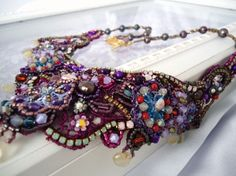 Marie Antoinette embroidery lace necklace by paulahiga on Etsy, $270.00