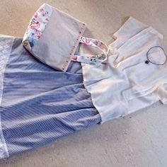 ★★恋するスカートその2素朴なストライプ+綿レース★ミモレ丈