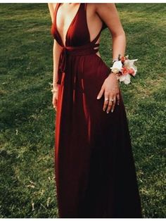 Sexy Deep V-Neck Sleeveless Floor-Length Burgundy Backless Prom Dress, prom dresses 2017.long burgundy party dresses. #partydresses #longpromdresses