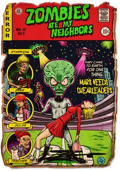 Zombies Ate My Neighbors! A comic book cover inspired by the Super Nintendo/Sega Genesis game.