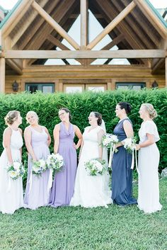 Bride Lace Cap Sleeve Bridal Gown Veil Bridesmaids Different Colour Style Dresses Bouquets Peonies Lavender Laughs Outdoor Spring Vineyard Wedding Tennessee http://www.juicebeatsphotography.com/